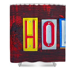 Happy Holidays License Plate Art Letter Sign Shower Curtain by Design Turnpike