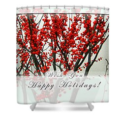 Happy Holidays Shower Curtain by Xueling Zou