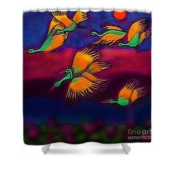 Happy Journey Shower Curtain by Latha Gokuldas Panicker
