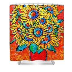 Happy Sunflowers Shower Curtain by Ana Maria Edulescu