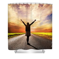 Happy Woman Standing On Long Road At Sunset Shower Curtain by Michal Bednarek