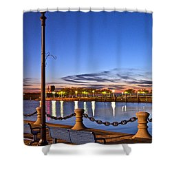 Harbor Lights Shower Curtain by Frozen in Time Fine Art Photography