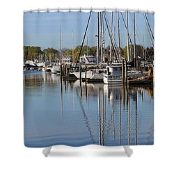 Harbor Reflections Shower Curtain by Karol Livote