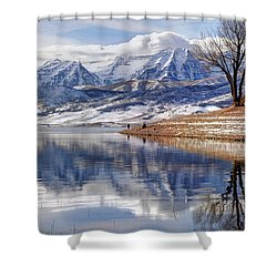 Hardy Fishermen Deer Creek Reservoir And Timpanogos In Winter Shower Curtain by Gary Whitton