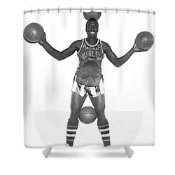 Harlem Globetrotters Player Shower Curtain by Underwood Archives