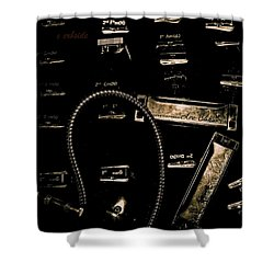 Harps In Brown Shower Curtain by Chris Berry