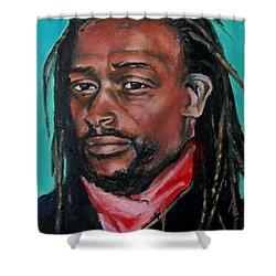 Hat Man - Portrait Shower Curtain by Grace Liberator