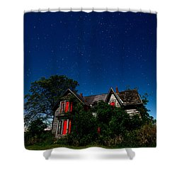 Haunted Farmhouse At Night Shower Curtain by Cale Best