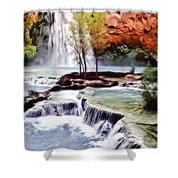 Havasau Falls Painting Shower Curtain by Bob and Nadine Johnston