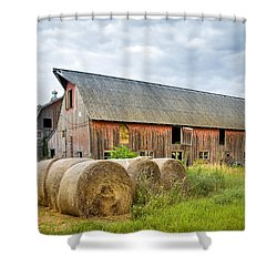 Hay Bales And Old Barns Shower Curtain by Gary Heller
