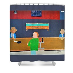 He Did It Shower Curtain by Dennis ONeil