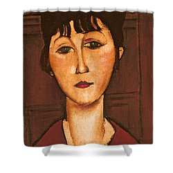 Head Of A Girl Shower Curtain by Amedeo Modigliani