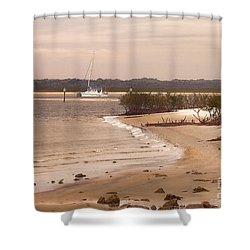 Heading Out To The Ocean Shower Curtain by Deborah Benoit