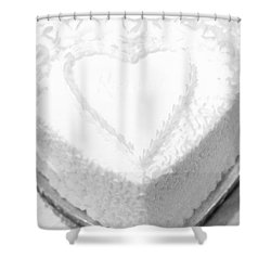 Heart Cake Shower Curtain by Kathleen Struckle