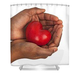 Heart In Hands Shower Curtain by Chevy Fleet