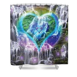 Heart Of Waterfalls Shower Curtain by Alixandra Mullins