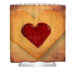 Heart Shaped Cookie With Texture Shower Curtain by Matthias Hauser