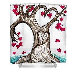 Heartful Tree 4 You Shower Curtain by Minnie Lippiatt