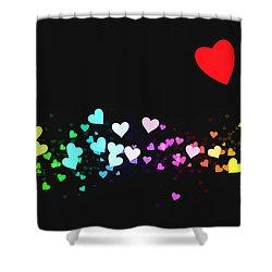 Hearts Trail Shower Curtain by Daniel Hagerman