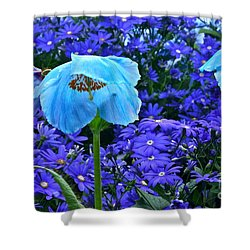 Heavenly Blue On Blue And Purple Shower Curtain by Byron Varvarigos