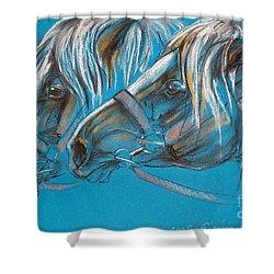 Heavy Horses Shower Curtain by Angel  Tarantella