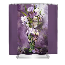 Heirloom Iris In Iris Vase Shower Curtain by Carol Cavalaris