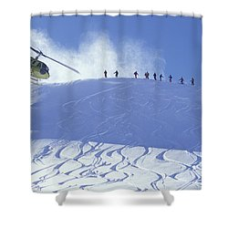 Heliskiing, Whistler, Bc, Canada Shower Curtain by Insight Photography