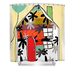 Hello Card Shower Curtain by Linda Woods