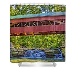 Helmick Mill Or Island Run Covered Bridge  Shower Curtain by Jack R Perry