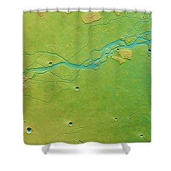 Shower Curtain featuring the photograph Hephaestus Fossae, Mars by Science Source