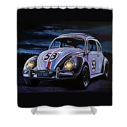 Herbie The Love Bug Painting Shower Curtain by Paul Meijering