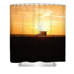 Hermosa Beach Sunset Shower Curtain by Scott Pellegrin