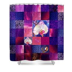 Hidden Orchids Squared Abstract Design Shower Curtain by Irina Sztukowski