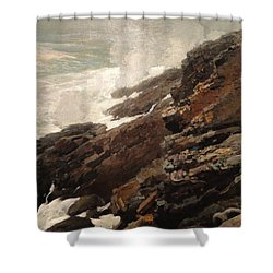 High Cliff Coast Of Maine 1894 Shower Curtain by Philip Ralley