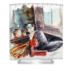 High Society On The Conquistadores Boat In Vila Do Conde In Portugal Shower Curtain by Miki De Goodaboom
