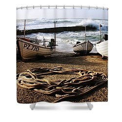 High Tide In Sennen Cove Cornwall Shower Curtain by Terri Waters