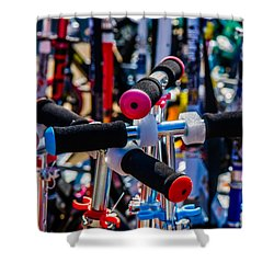 High Time To Buy A Scooter 2 Vertical Shower Curtain by Alexander Senin