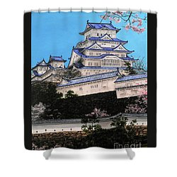 Himeji Castle Shower Curtain by D L Gerring