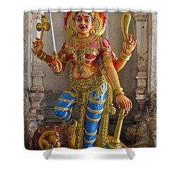 Hindu Goddess Durga On Lion Shower Curtain by David Gn