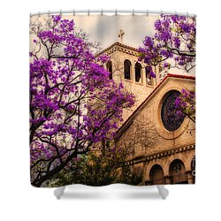 Historic Sierra Madre Congregational Church Among The Purple Jacaranda Trees  Shower Curtain by Jerry Cowart