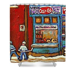 Hockey Game At The Corner Kik Cola Depanneur  Resto Deli  - Verdun Winter Montreal Street Scene  Shower Curtain by Carole Spandau