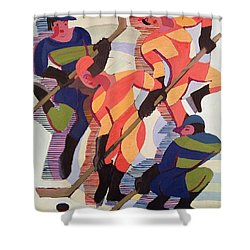 Hockey Players Shower Curtain by Ernst Ludwig Kirchner