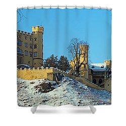 Hohenschwangau Castle Panorama In Winter Shower Curtain by Rudi Prott