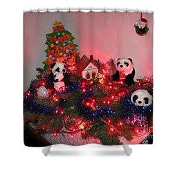 Holidays In Pandaland Shower Curtain by Ausra Huntington nee Paulauskaite