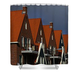 Holland Row Of Roof Tops Shower Curtain by Bob Christopher