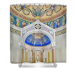 Holy Mary Shower Curtain by Susan Candelario