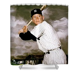 American Fabric   Mickey Mantle Shower Curtain by Iconic Images Art Gallery David Pucciarelli