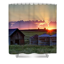 Home Town Sunset Shower Curtain by Mark Kiver