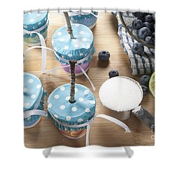 Homemade Blueberry Popsicles Shower Curtain by Juli Scalzi