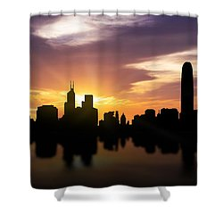 Hong Kong Sunset Skyline  Shower Curtain by Aged Pixel